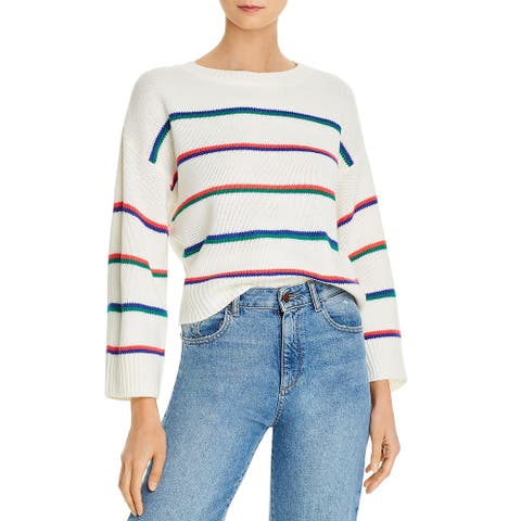 BB Dakota Womens Hype Pullover Sweater Striped Cozy - Ivory