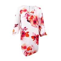 Calvin Klein Women's Bell-Sleeve Floral-Print Dress - Hibiscus Multi