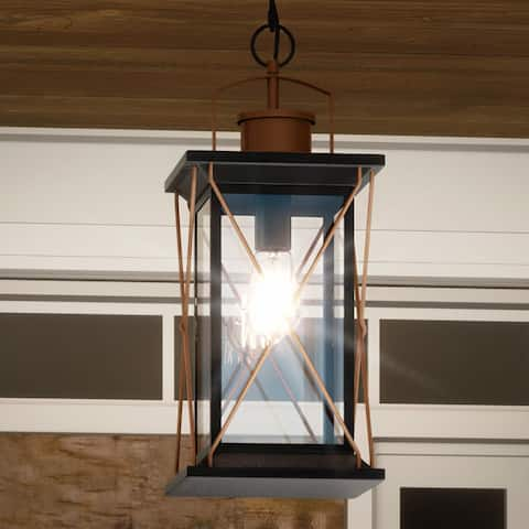 """Luxury Colonial Outdoor Pendant Light, 21""""H x 9""""W, with Tudor Style, Olde Bronze, UHP1231 by Urban Ambiance - 21''H x 9""""W x 9""""D"""