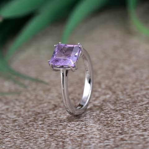 Peridot, Amethyst, Smoky Quartz Sterling Silver Square Solitaire Ring by Orchid Jewelry