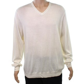 Calvin Klein NEW White Ivory Mens Size XL V-Neck Wool Ribbed Sweater