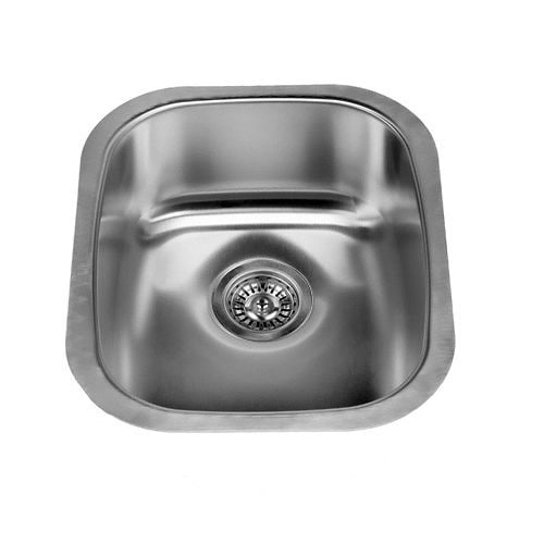 "Miseno MSS2118C 16-1/8"" Undermount Single Basin Stainless Steel Kitchen / Bar Sink - Steel Drain Assembly Included"