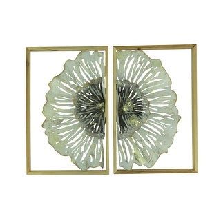 Metal Flower Art Duo Wood Framed 2 Piece Wall Decor Set - 15.75 X 10.25 X 1.25 inches