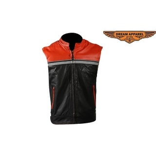 Mens Black & Orange Leather Vest - Size - 40