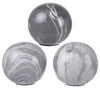 Decorative Balls , Set of 3, Gray and White