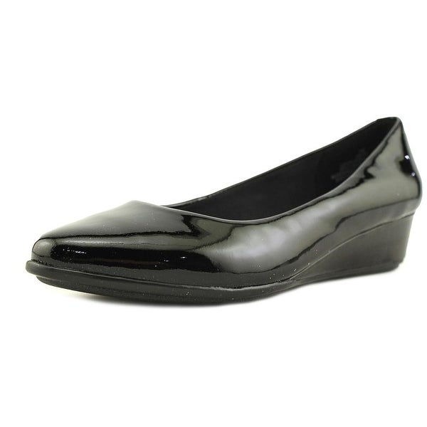 556a7c24d2a Easy Spirit e360 Avery Women Open Toe Patent Leather Black Wedge Heel