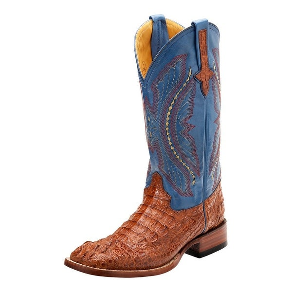 Ferrini Western Boots Mens Caiman Exotic Embroidered Cognac