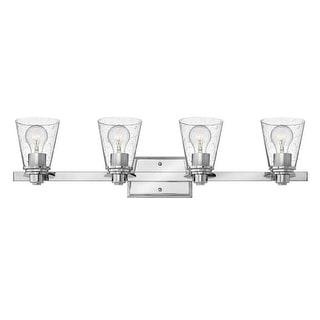 "Hinkley Lighting 5554-CL Avon 4 Light 31-3/4"" Wide Bathroom Vanity Light with Seedy Glass"