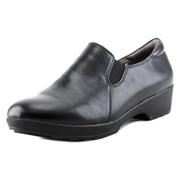 Life Stride Buzz Women W Round Toe Leather Black Work Shoe