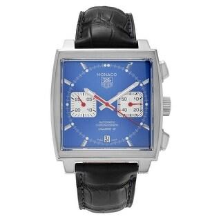 Tag Heuer Men's CAW2111.FC6183 'Monaco' Chronograph Square Case Blue Alligator Strap Watch - Black