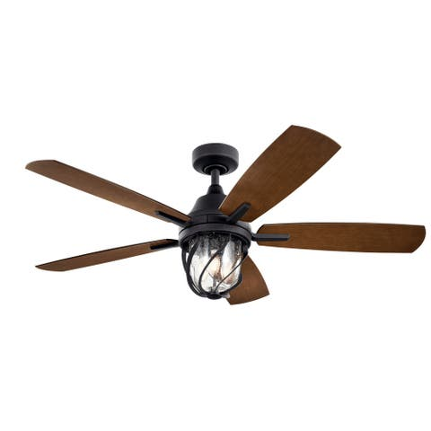 Kichler Lydra 52 Inch LED Ceiling Fan Distressed Black with Walnut and Satin Black blades