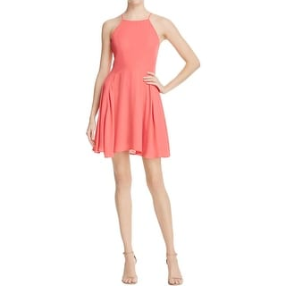 Aqua Womens Casual Dress Chiffon Halter