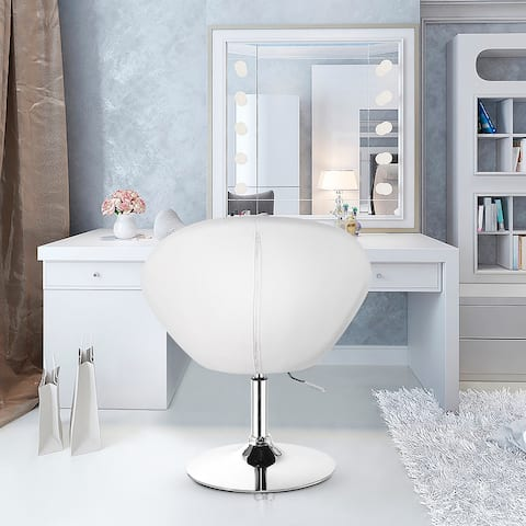 Adjustable Swivel Accent Chair Tufted Round-Back Modern Vanity Chair