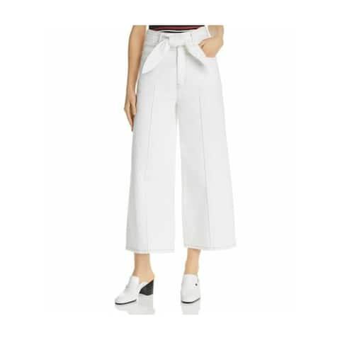 JOIE Womens Ivory Belted Wide Leg Pants Size 28 Waist