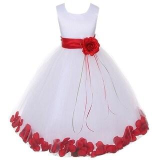 Kids Dream Little Girls White Satin Red Floating Petal Flower Girl Dress 2T-6