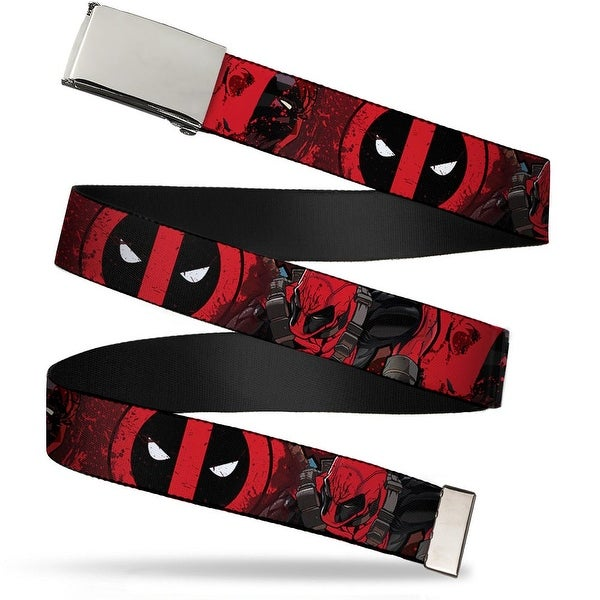 "Blank Chrome 1.0"" Buckle Deadpool Logo Face Pose Close Up Splatter Reds Web Belt 1.0"" Wide - S"