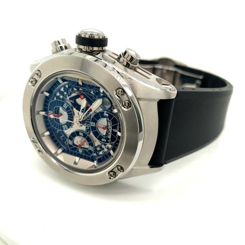 Cvstos Men's 4009R44AC 02 'Challenge' Silver Dial Black Rubber Strap Chronograph 2 Day Power Reserve Automatic Watch
