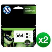 HP 564 2-Cartridges Black Original Ink Cartridges (C2P51FN) (2-Pack)