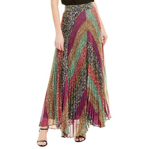Alice + Olivia Kats Sunburst Pleated Maxi Skirt - F336-JASMINE STRIPE MULTI