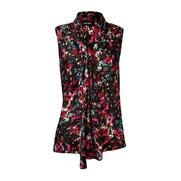 Shop Nine West Womens Sleeveless Tie Neck Charmeuse Blouse Rogue