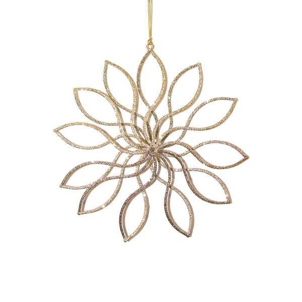 "8"" Have Faith Gold Glitter Swirl Flower Christmas Ornament"