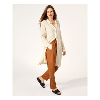 Link to EILEEN FISHER Ivory Cuffed Above The Knee Shirt Dress Dress  Size PP Similar Items in Pants