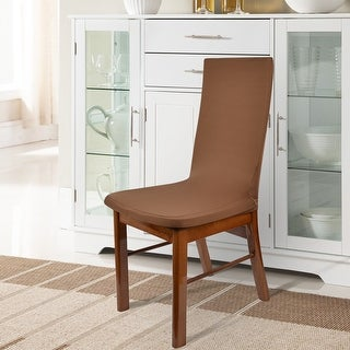 Unique Bargains Coffee 2 Pcs Spandex Stretch Removable Dining Chair Cover