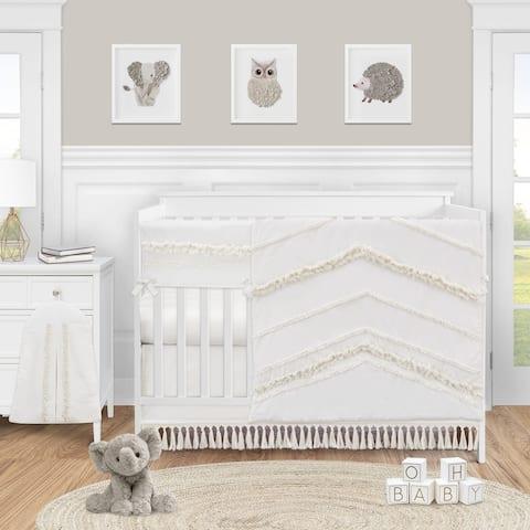 Ivory Gender Neutral Boho Bohemian Collection Girl Boy 5pc Nursery Crib Bedding Set - Off White Farmhouse Chic Fringe Cotton