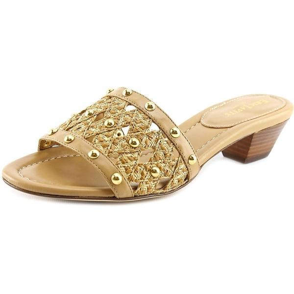 Eric Javits New York Maribel Women Open Toe Leather Tan Slides Sandal