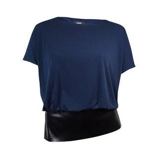 Alfani Women's Faux Leather Hem Dolman Jersey Bubble Blouse