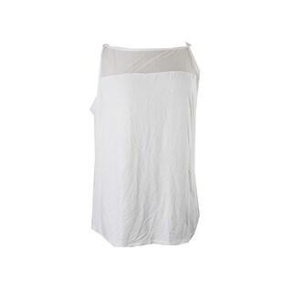 Lauren Ralph Lauren Plus Size Cream Mesh-Yoke Jersey Tank Top 2X
