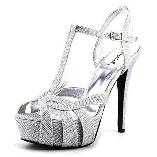 Qupid Gaze Women Open Toe Synthetic Silver Platform Heel
