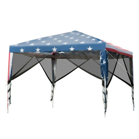 Gymax 10' X 10' Outdoor Pop-Up Canopy Tent W/ Mesh Sidewalls Carrying Bag