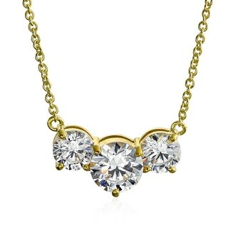 Link to Simple 3.25 CT Three Stone Solitaire CZ Necklace Gold Plated Similar Items in Necklaces