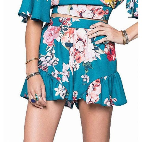 Band of Gypsies Womens Shorts Blue Size Medium M Floral Flutter Flounce