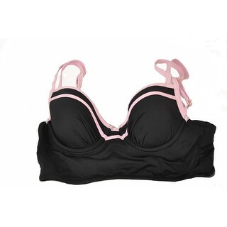 Tommy Bahama Women's Deck Piping Cropped Bikini Black/Pink 34B Swim Top