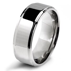 Stainless Steel Ridged Edge 8mm Polished Band Ring with Comfort Fit