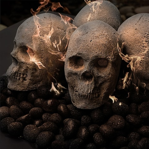 Ceramic Fire Pit Decor Fire Pit Skulls and Bones Halloween Pumpkin For Fire Pits and Fireplaces Spooky and Scary Decor