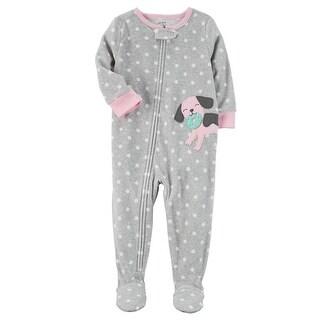 Carter's Baby Girls' 1 Piece Dog Fleece Pajamas, 6 Months - grey