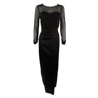 Tahari Women's Ruched Mesh Sleeve Satin Gown (12, Black) - 12