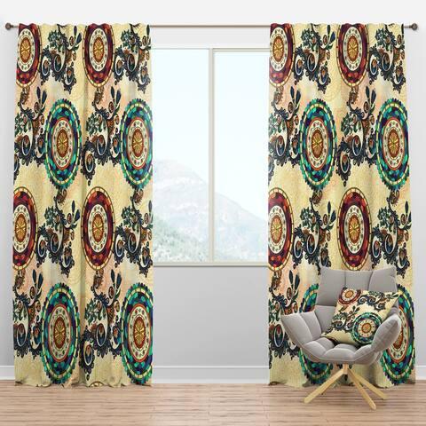 Designart 'Floral Paisley Ethnic' Bohemian & Eclectic Blackout Curtain Panel