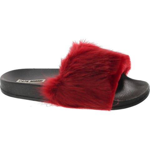 Cape Robbin Moira-5 Women Flip Flop Faux Fuzzy Fur Slide Slip On Flat Sandal Shoe Slipper - Wine