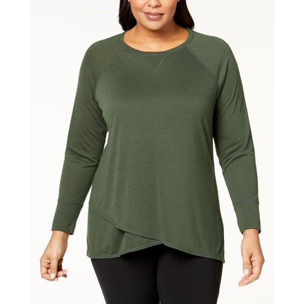 08a0108250b Calvin Klein Performance Women  x27 s Plus Size Cross-Over Hem Top Vine