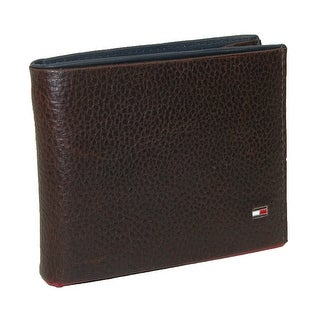 Tommy Hilfiger Men's Leather Raymond Passcase Bifold Wallet with Red Trim - One Size