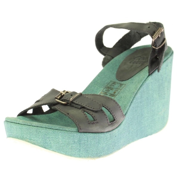 Coolway Womens Gacela Wedge Sandals Leather Tie-Dye