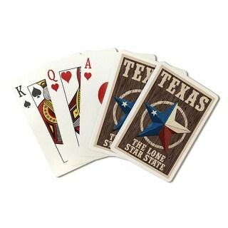 Texas - Barn Star Letterpress - Lantern Press Artwork (Playing Card Deck - 52 Card Poker Size with Jokers)