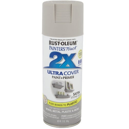 Rust-Oleum 249855 Painter's Touch 2x Paint+Primer Enamel Spray, 12 Oz,  Stone Grey