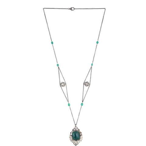 18Kt Gold 925 Sterling Silver Diamond Emerald Spinel Opera Necklace Precious Stone Jewelry With Jewelry Box