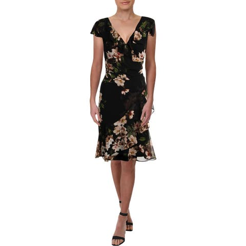 Lauren Ralph Lauren Womens Webby Party Dress Knee-Length Floral Print
