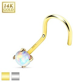Prong Set Opal Stone Top 14K Gold Nose Screw (Sold Individually)